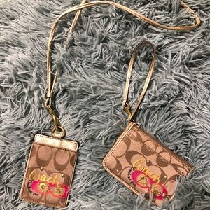 Coach lanyard and card holder keychain set